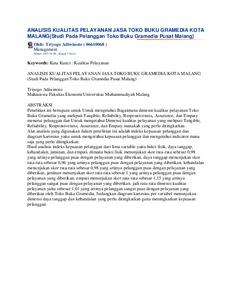 Analisis kualitas pelayanan jasa toko buku gramedia kota malang analisis kualitas pelayanan jasa toko buku gramedia kota malangstudi pada pelanggan toko buku gramedia pusat malang ccuart Images