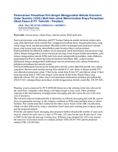 Economic order quantity thesis
