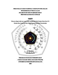 Peran Balai Taman Nasional Tanjung Puting Dalam Pengembangan Wisata Alam Di Kabupaten Kotawaringin Barat Provinsi Kalimantan Tengah Umm Institutional Repository